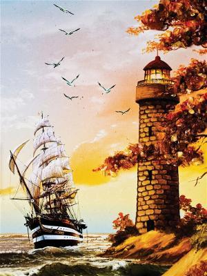 Art Холст Маяк и парусник  30х40 см DECORETTO. Цвет: бежевый, белый, коричневый