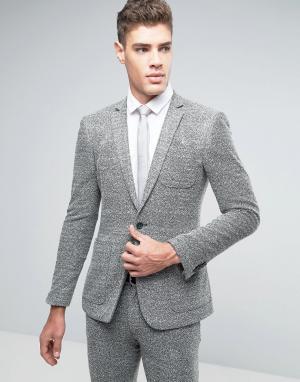 ASOS Супероблегающий трикотажный пиджак WEDDING. Цвет: зеленый