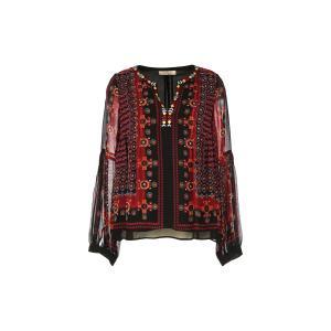 Блузка с разрезом на круглом вырезе, рисунком и длинными рукавами RENE DERHY. Цвет: черный/ красный