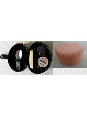 Дорожный набор для ухода за обувью  в футляре из полиуретана, грязно-розовый Magic Home. Цвет: сиреневый