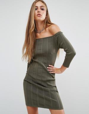 Rock & Religion Платье в рубчик с открытыми плечами Erin. Цвет: зеленый