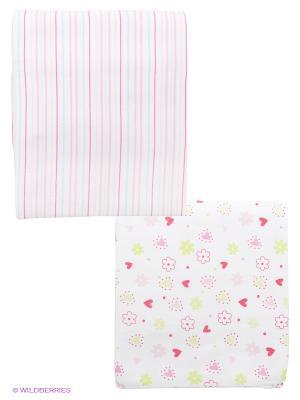 Комплект пеленок, 2 шт Spasilk. Цвет: розовый, белый