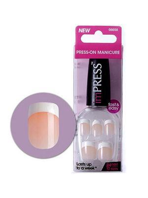 Твердый лак Impress Manicure Париж, длина короткая Kiss. Цвет: бежевый, белый, прозрачный