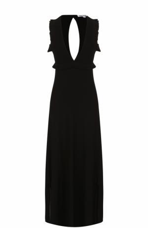 Платье-макси с V-образным вырезом Elizabeth and James. Цвет: черный