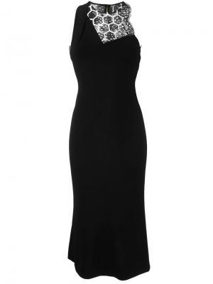 Приталенное платье с кружевной панелью Roland Mouret. Цвет: чёрный