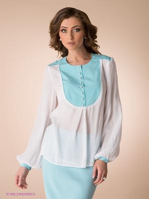 Блузка Yulia Dushina. Цвет: белый, голубой