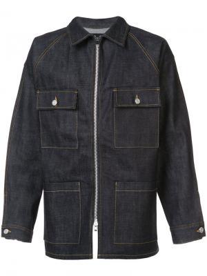 Джинсовая куртка на молнии Fear Of God. Цвет: синий