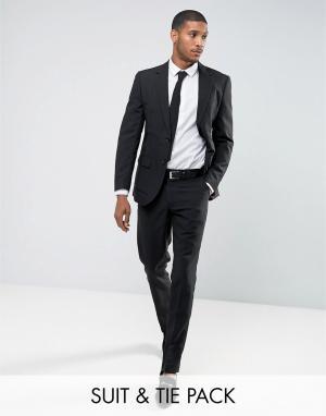 Oppo Suits Черный облегающий костюм и галстук OppoSuits PROM. Цвет: черный