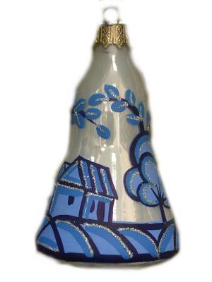 Елочное украшение Колокольчик Гжель Домики h-8 см Карнавал-Премьер. Цвет: серо-голубой