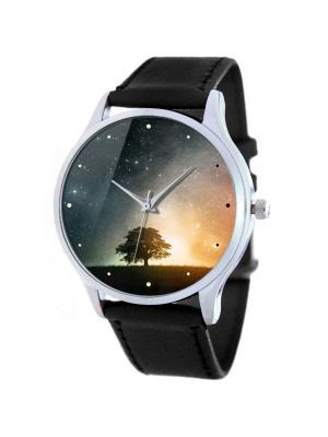 Дизайнерские часы Дерево Tina Bolotina. Цвет: темно-серый, желтый