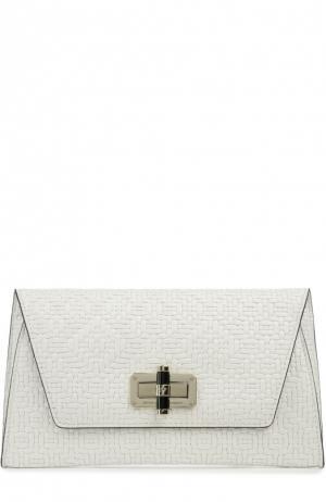 Клатч из тисненой кожи Diane Von Furstenberg. Цвет: белый