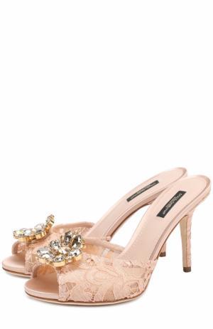 Кружевные мюли Keira на шпильке Dolce & Gabbana. Цвет: бежевый