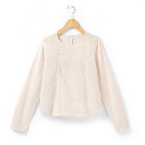Блузка с длинными рукавами R teens. Цвет: экрю