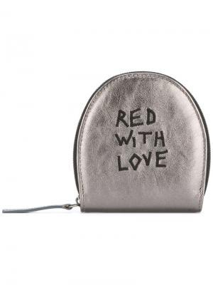 Кошелек для монет с вышивкой Ann Demeulemeester. Цвет: серый