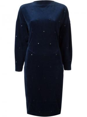 Вельветовое платье Alaïa Vintage. Цвет: синий