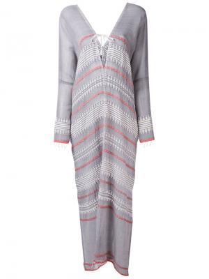 Расклешенное полосатое платье Lemlem. Цвет: серый