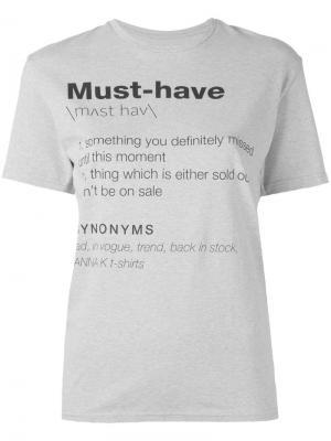 Slogan printed T-shirt Anna K. Цвет: серый