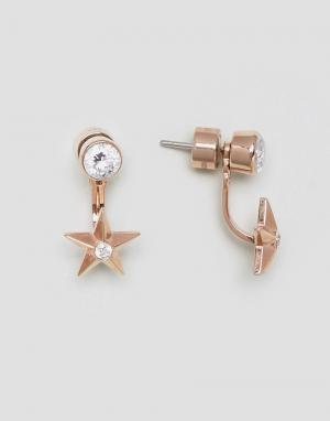 Michael Kors Золотисто-розовые серьги-гвоздики. Цвет: золотой