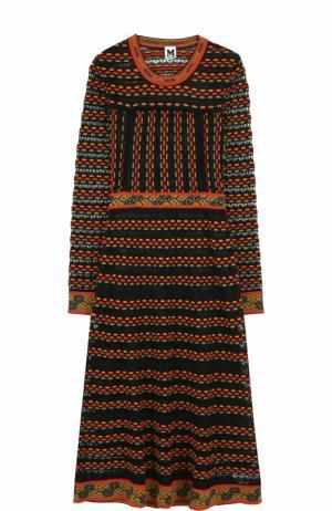 Приталенное платье-миди с длинным рукавом M Missoni. Цвет: черный