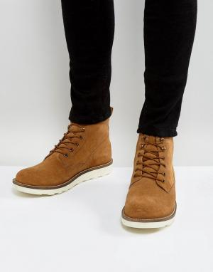 Dune Светло-коричневые замшевые ботинки на шнуровке. Цвет: рыжий