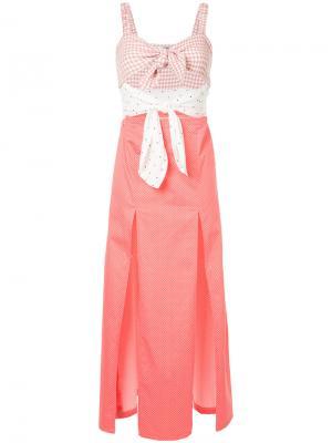 Платье с узлом и принтом N Duo. Цвет: розовый и фиолетовый