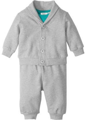 Для малышей: трикотажная курточка + трикотажные брюки боди (3 изд.), биохлопок (изумрудный/светло-серый меланж) bonprix. Цвет: изумрудный/светло-серый меланж