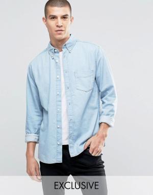 Brooklyn Supply Co. Рубашка с карманами и выбеленным эффектом Co. Цвет: синий
