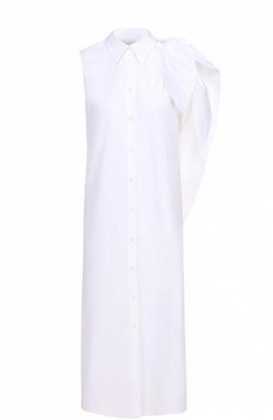 Платье-рубашка прямого кроя без рукавов с оборкой Mm6. Цвет: белый