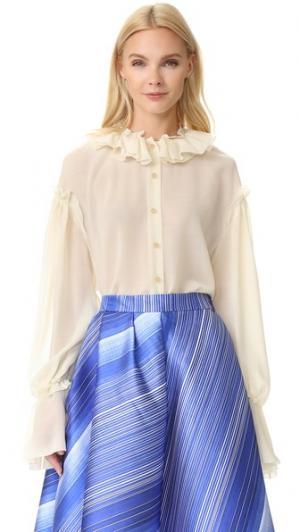Оборчатая блуза Vika Gazinskaya. Цвет: белый