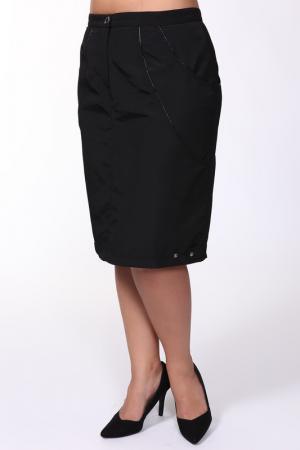Полуприлегающая юбка с пуговицей Зар-Стиль. Цвет: черный