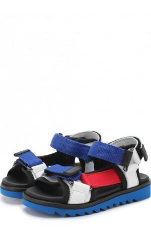 Кожаные сандалии с застежками велькро и текстильной отделкой Gallucci. Цвет: белый