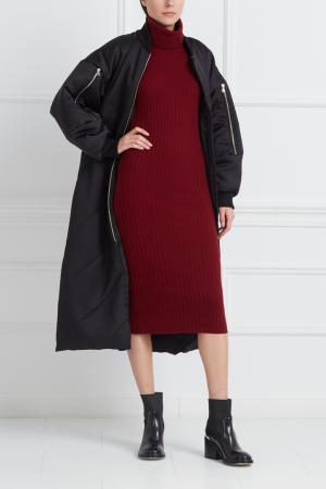 Платье из шерсти мериноса с кашемиром Mixer. Цвет: бордовый
