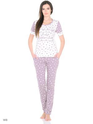Комплект домашней одежды ( футболка, брюки) HomeLike. Цвет: лиловый, молочный