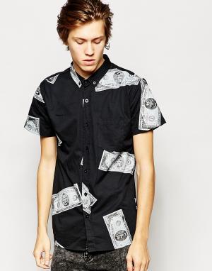 Zee Gee Why Черная рубашка с короткими рукавами и принтом долларов Ran. Цвет: black jack