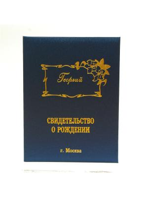 Именная обложка для свидетельства о рождении Георгий г.Москва Dream Service. Цвет: синий