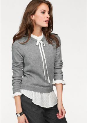 Пуловер 2 в 1 Aniston. Цвет: серый меланжевый/цвет белой шерсти
