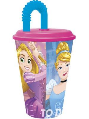 Стакан пластиковый с соломинкой и крышкой (спортивный, 430 мл). Принцессы Дружные приключения Stor. Цвет: зеленый, красный, синий