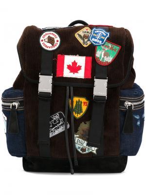 Рюкзак с заплатками Dsquared2. Цвет: коричневый