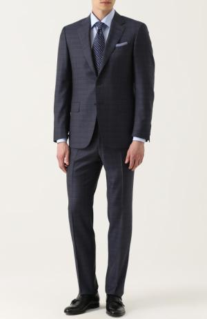 Шерстяной костюм в клетку с пиджаком на двух пуговицах Canali. Цвет: серый