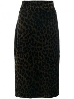 Юбка-карандаш с леопардовым рисунком Odeeh. Цвет: чёрный