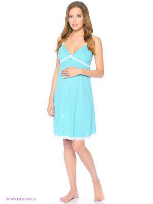 Сорочка женская для беременных и кормящих Hunny Mammy. Цвет: бирюзовый, белый