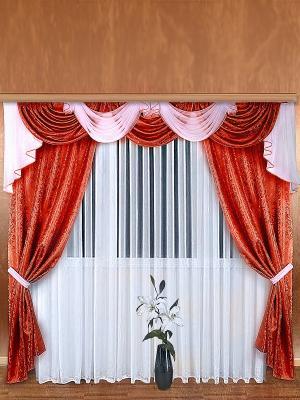 Комплект штор ZLATA KORUNKA. Цвет: бордовый, белый