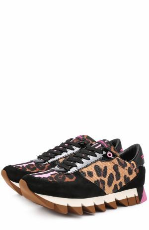 Комбинированные кроссовки Capri с принтом Dolce & Gabbana. Цвет: леопардовый