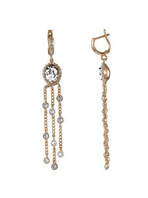 Чувственные серьги Sensuelle  с кристаллами Swarovski в золоте Mademoiselle Jolie Paris. Цвет: прозрачный, золотистый