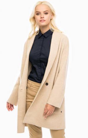 Шерстяное пальто с карманами Marc O'Polo. Цвет: бежевый