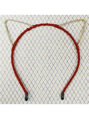 Ободок ушки со стразами Bizon. Цвет: красный