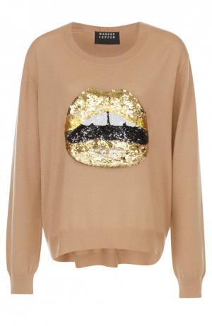 Пуловер с удлиненной спинкой и вышивкой пайетками Markus Lupfer. Цвет: золотой