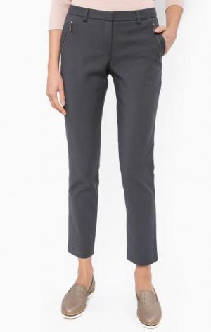 Серые брюки с декоративными молниями MORE &. Цвет: серый