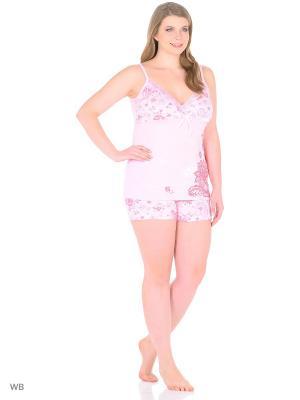 Домашний костюм (топ, шорты) HomeLike. Цвет: розовый