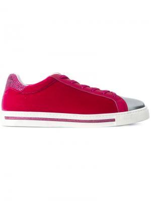 Бархатные кроссовки René Caovilla. Цвет: розовый и фиолетовый